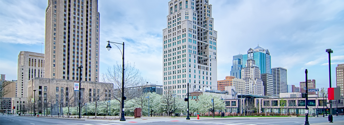 Upscale downtown condo buildings in Kansas City